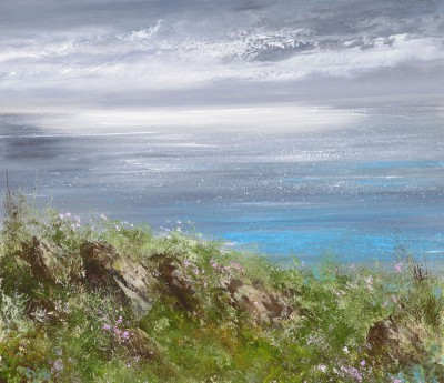 British Artist Amanda HOSKIN - Silver Light and Sea Pinks, Cornwall