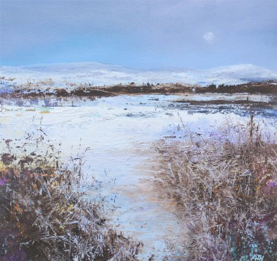 British Artist Amanda HOSKIN - Winter Snow on the Moors, Cornwall