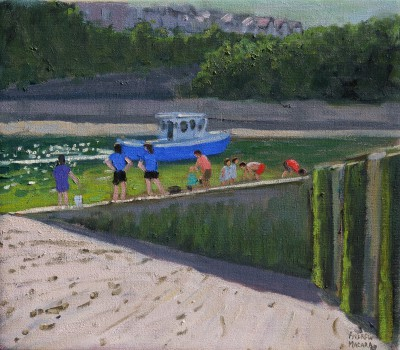 British Artist Andrew MACARA  - Blue Fishing Boat, Looe