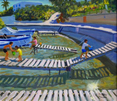 British Artist Andrew MACARA  - The Jetty, Tinos, Greece