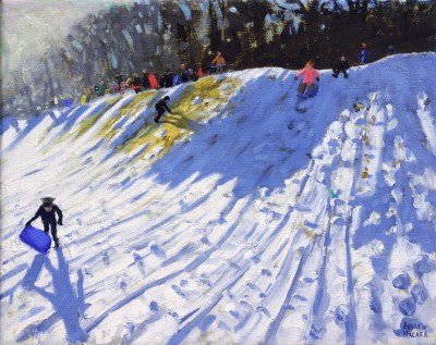 British Artist Andrew MACARA  - Sledging from the 2nd Green in Winter