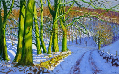 British Artist Andrew MACARA  - Green Trees, Winter, Dam Lane, Derbyshire
