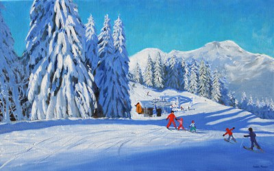 British Artist Andrew MACARA  - The Ski Lesson, Morzine