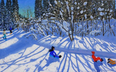 British Artist Andrew MACARA  - Sledging and Skiing Down The Trail, Morzine