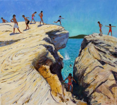 British Artist Andrew MACARA  - Jumping off the Rocks, Plates, Skiathos
