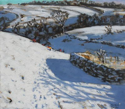 British Artist Andrew MACARA  - Winter Walk, Monyash, Derbyshire