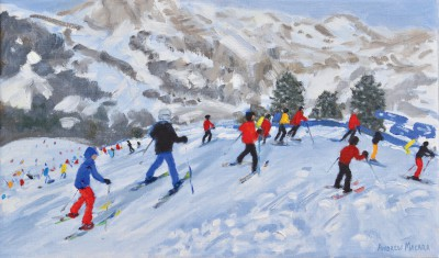 Andrew MACARA , contemporary artist&nbsp;-&nbsp;<span style='color:red;font-size: 200%'>&#8226;</span> Skiers, Val Gardena, Italy