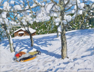British Artist Andrew MACARA  - Sledging in the Orchard, Morzine