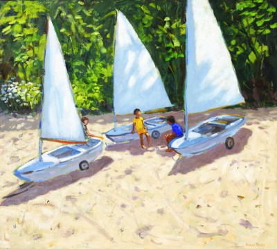 British Artist Andrew MACARA  - Young Sailors, Salcombe