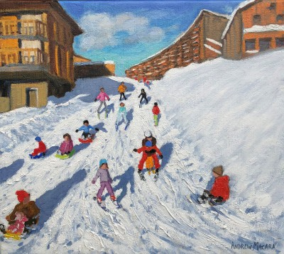 Sledging, Les Arcs, France painting by artist Andrew MACARA
