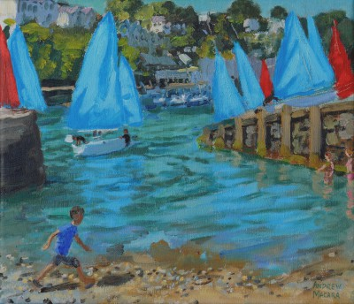 British Artist Andrew MACARA  - Red and Blue Sails, Looe