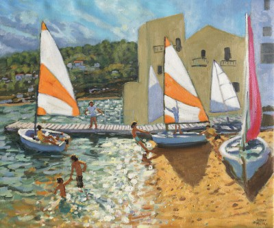 British Artist Andrew MACARA  - Launching the Boats, Calella de Palafrugell, Spain