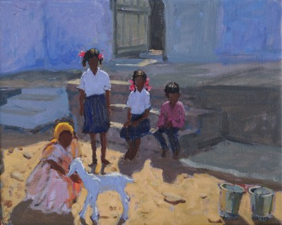 British Artist Andrew MACARA  - Schoolgirls and their Goat, India