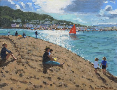 British Artist Andrew MACARA  - Red Sail, Teignmouth, Devon