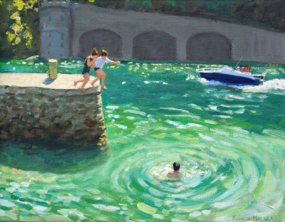 British Artist Andrew MACARA  - Jumping off the Harbour Wall, Looe