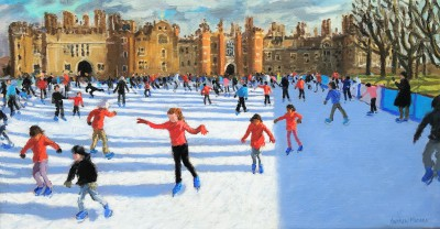British Artist Andrew MACARA  - Girls in Red, Hampton Court Palace Ice Rink