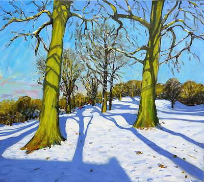 British Artist Andrew MACARA - Winter Trees, Breadsall Priory, Derbyshire