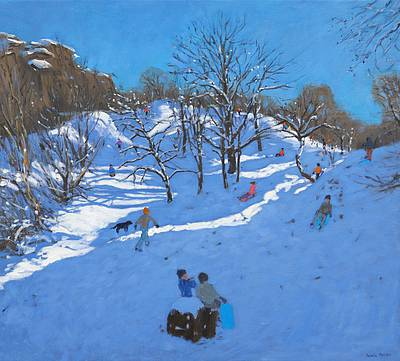 British Artist Andrew MACARA - Sledgers at Black Rocks, Wirksworth