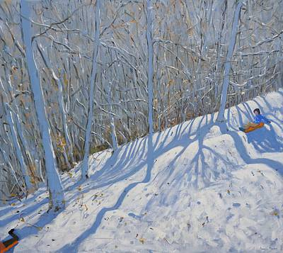 British Artist Andrew MACARA - Sledging through the Woods, nr Courchevel
