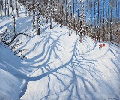 British Artist Andrew MACARA - Winter Woodland, near Courchevel