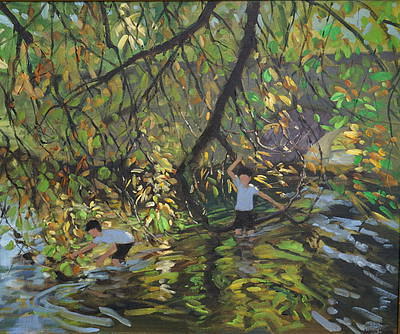 British Artist Andrew MACARA - Wye River in Autumn, Derbyshire