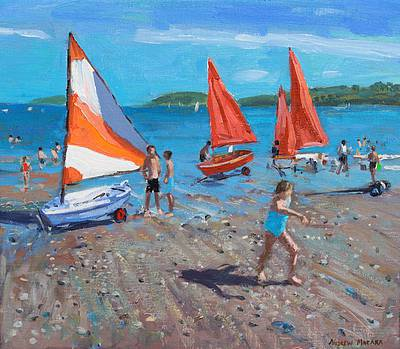 British Artist Andrew MACARA - Red and White Sails