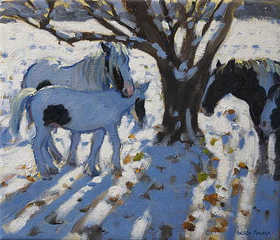 British Artist Andrew MACARA - Skewbald Ponies in Winter