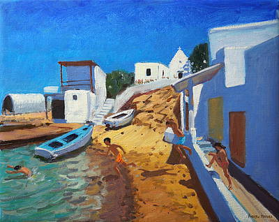 British Artist Andrew MACARA - Fishing Village, Kefalonia