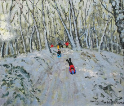 British Artist Andrew MACARA  - Sledging in Allestree Woods