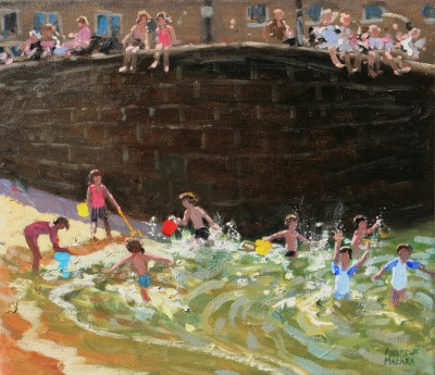 British Artist Andrew MACARA  - Splashing in Tenby