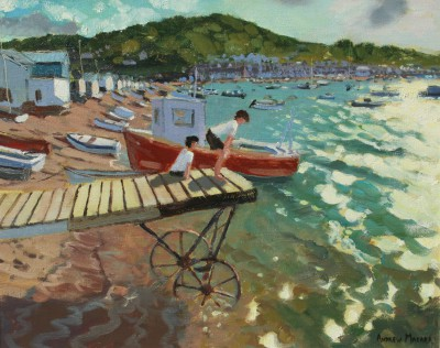 British Artist Andrew MACARA  - Two Boys on Landing Stage