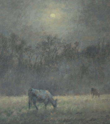 British Artist Ann HEAT RBA - Black Cows at Night