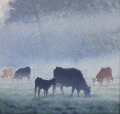Ann HEAT RBA - Black Cow and Calf in the Morning