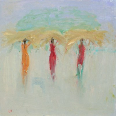 British Artist Ann SHRAGER - Ladies in Saris Carrying Grass