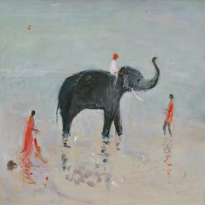British Artist Ann SHRAGER - Elephant in the Pool