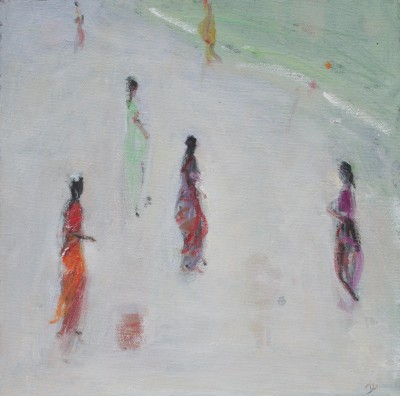 British Artist Ann SHRAGER - Six Ladies in Saris