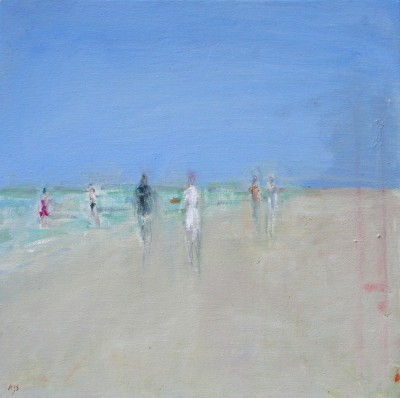 British Artist Ann SHRAGER - Six Figures on the Beach