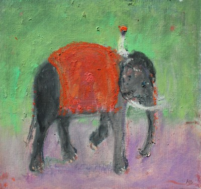 British Artist Ann SHRAGER - Black Elephant and Mahout