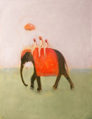 British Artist Ann SHRAGER - Elephant and Three Mahouts
