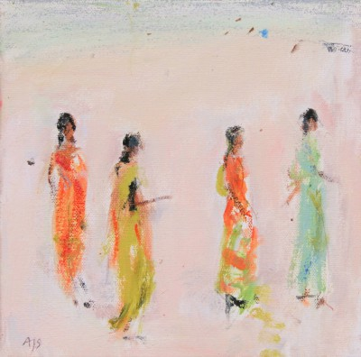 British Artist Ann SHRAGER - Ladies in Saris