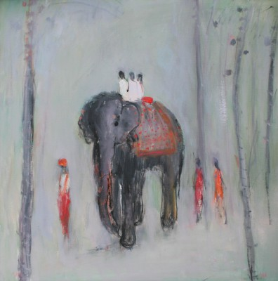 British Artist Ann SHRAGER - Walking with the Elephant