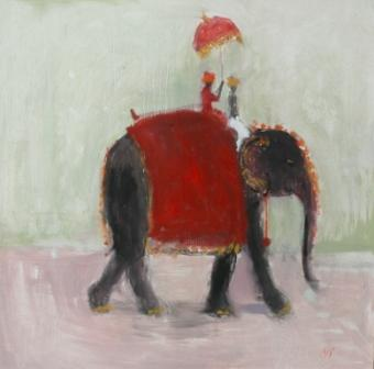 British Artist Ann SHRAGER - Elephant and Red Umbrella