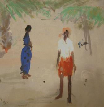 British Artist Ann SHRAGER - The Fisherman, Kerala