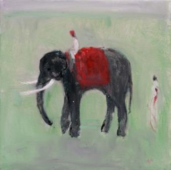 British Artist Ann SHRAGER - Elephant and Mahout