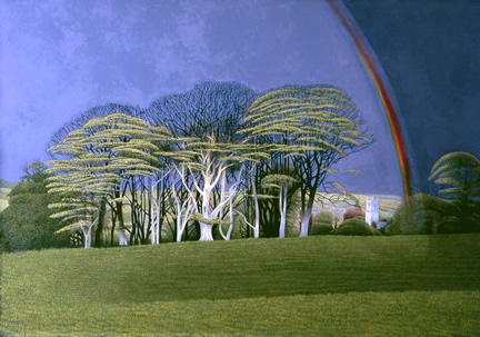 Limited Edition Prints Artist Annie Ovenden - Rainbow Over Cardinham