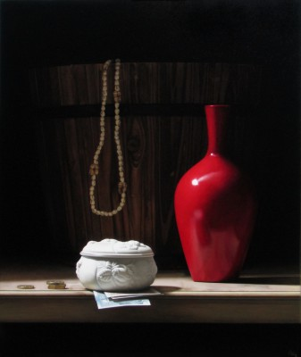 British Artist Anthony ELLIS - Still Life with Wooden Bowl and Red Vase