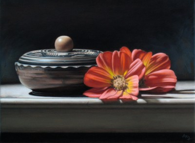 British Artist Anthony ELLIS - Still Life with Patterned Bowl and Flowers
