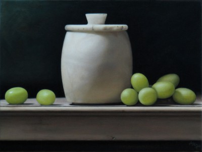Anthony ELLIS - Still Life with White Pot and Grapes