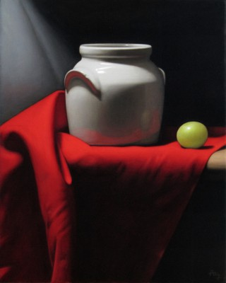 British Artist Anthony ELLIS - Still Life with Jug and Red Drapery