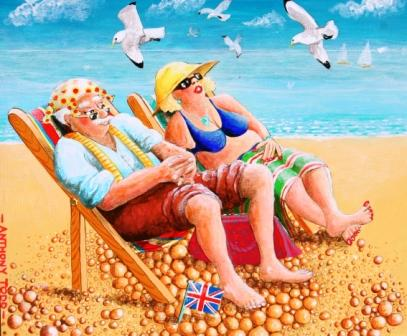 British Artist Anthony TODD - Amanda and Uncle Albert enjoy a day at Worthing